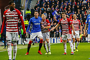 Kyle Lafferty of Rangers holds off Ziggy Gordon of Hamilton Academical FC at a thow in during the Ladbrokes Scottish Premiership match between Rangers and Hamilton Academical FC at Ibrox, Glasgow, Scotland on 16 December 2018.