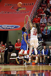 14 November 2016: Tony Wills(12) takes the 3 over Mo Evans(0) during an NCAA  mens basketball game between the Indiana Purdue Fort Wayne Mastodons the Illinois State Redbirds in Redbird Arena, Normal IL