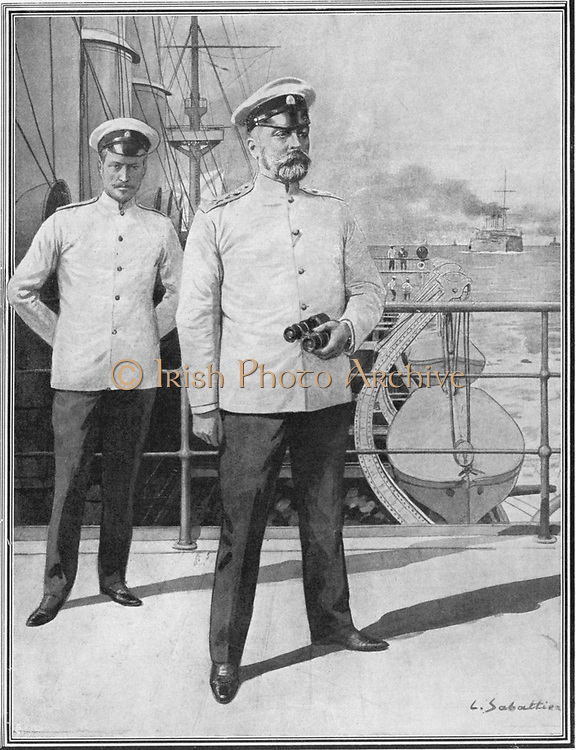 Admiral Rozhestvensky, Commander of the Russian Baltic fleet during the Russo-Japanese War 1904-1905 on the deck of his flagship.