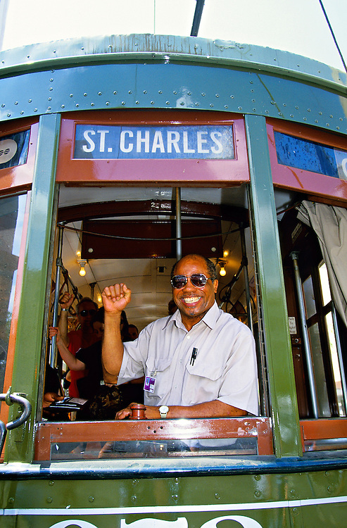 Conductor, St. Charles streetcar, New Orleans, Louisiana USA