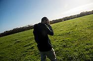 © Benjamin Girette / IP3 PRESS : le 22 Novembre 2012 - Mathieu, 29 ans, agriculteur en bordure de la ZAD nous montre son champ dont une partie doit servir au nouveau projet d'aeroport. Dans la ZAD (Zone a Defendre) - Territoire prévu pour le projet d'aeroport - a proximité de Notre Dame des Landes.