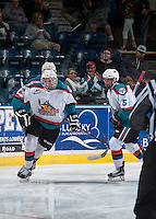 KELOWNA, CANADA - SEPTEMBER 3: Ted Brennan #12 of Kelowna Rockets celebrates the first goal against the Victoria Royals on September 3, 2016 at Prospera Place in Kelowna, British Columbia, Canada.  (Photo by Marissa Baecker/Shoot the Breeze)  *** Local Caption *** Ted Brennan;