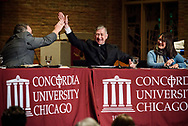 The Rev. Dr. Matthew C. Harrison, president of the LCMS, high-fives Cardinal Blase J. Cupich, Archdiocese of Chicago, after a lighthearted joke about predestination from Cupich during The Reformation at 500: An Interdenominational Conversation, on Monday, Oct. 30, 2017, at Chapel of Our Lord at Concordia University Chicago in River Forest, Ill. The other featured presenter was the Rev. Dr. Philip Ryken, president of Wheaton College. The moderator was Manya Brachear Pashman, religion correspondent for the Chicago Tribune. LCMS Communications/Erik M. Lunsford