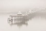 Bangor Pier looms through the early morning fog over the Menai Strait on Easter Day 2015.