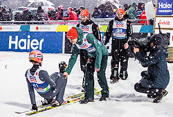 01.03.2019, Seefeld, AUT, FIS Weltmeisterschaften Ski Nordisch, Seefeld 2019, Skisprung, Herren, im Bild Karl Geiger (GER), Stephan Leyhe (GER), Markus Eisenbichler (GER), Richard Freitag (GER) // Karl Geiger of Germany, Stephan Leyhe of Germany, Markus Eisenbichler of Germany, Richard Freitag of Germany during the men's Skijumping of FIS Nordic Ski World Championships 2019. Seefeld, Austria on 2019/03/01. EXPA Pictures © 2019, PhotoCredit: EXPA/ JFK