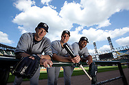 Portrait of New York Yankees A.J. Burnett, Mark Teixeira, and C.C. Sabathia at U.S. Cellular Field before a game against the Chicago White Sox..