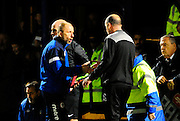 Accrington Stanley manager John Coleman and Portsmouth manager Paul Cook shake hands after Portsmouth's 1-0 win during the The FA Cup match between Portsmouth and Accrington Stanley at Fratton Park, Portsmouth, England on 5 December 2015. Photo by Graham Hunt.