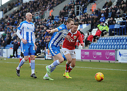 Bristol City's Luke Freeman is challenged by Colchester United's Elliott Hewitt - Photo mandatory by-line: Dougie Allward/JMP - Mobile: 07966 386802 - 21/02/2015 - SPORT - Football - Colchester - Colchester Community Stadium - Colchester United v Bristol City - Sky Bet League One