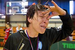 Sergeja Stefanisin during celebration of RK Krim Mercator after the handball game between RK Krim Mercator and ZRK Krka of Liga z'dezele of Slovenian National Championship 2010/2011, on May 14, 2011 in Arena Krim Galjevica, Ljubljana, Slovenia. Krim became Slovenian National Champion 2010//2011. (Photo By Vid Ponikvar / Sportida.com)