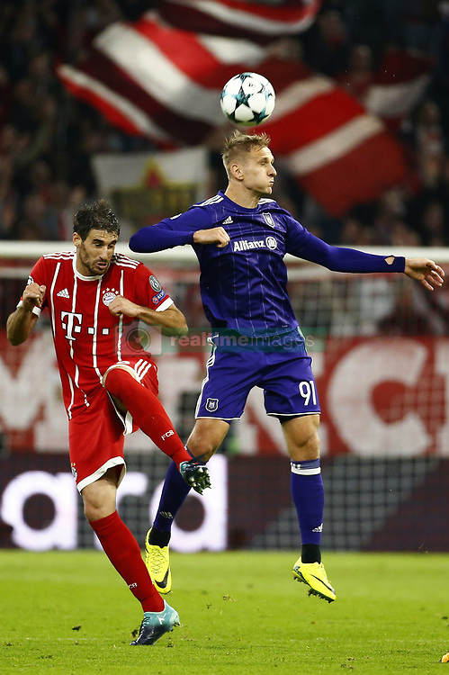 September 12, 2017 - France - MUNCHEN,GERMANY - SEPTEMBER 12 : Javi Martinez of Bayern Munchen and Lukasz Teodorczyk forward of RSC Anderlecht    during the match between Bayern Munchen and Rsc Anderlecht - UEFA  Champions League, on the Allianz Arena ,12/09/2017 (Credit Image: © Panoramic via ZUMA Press)