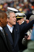 6 Dec 2008:  President George W Bush waves to attendees of the Army / Navy game December 6th, 2008. At Lincoln Financial Field in Philadelphia, Pennsylvania.