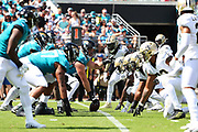 Oct 13, 2019; Jacksonville, FL USA;  An overall view of the line of scrimmage between the Jacksonville Jaguars and the New Orleans Saints during an NFL game at TIAA Bank Field in Jacksonville, FL. The Saints beat the Jaguars 13-6. (Steve Jacobson/Image of Sport)