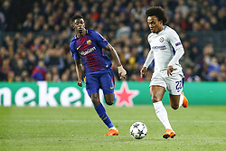 March 14, 2018 - Barcelona, Catalonia, Spain - Chelsea FC midfielder Willian (22) and FC Barcelona forward Ousmane Dembele (11) during UEFA Champions League match between FC Barcelona and Chelsea FC at Camp Nou Stadium corresponding of Round of 16, Second leg on March 14, 2018 in Barcelona, Spain. (Credit Image: © Urbanandsport/NurPhoto via ZUMA Press)