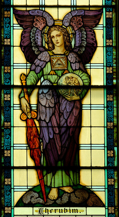 The angel Cherubim is depicted in a stained glass window at Our Lady of the Lake Church in Ashland.