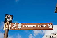 thames path sign and blue sky