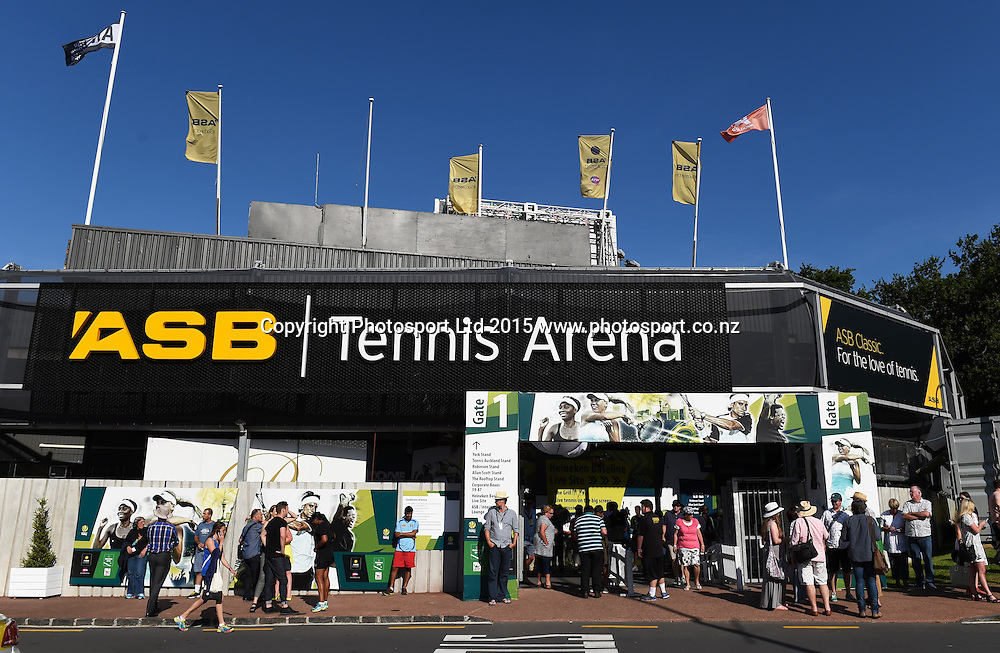 General view of the ASB Tennis Arena on Day 1 at the ASB Classic WTA International. Auckland, New Zealand. Monday 5 January 2015. Copyright photo: Andrew Cornaga/www.photosport.co.nz