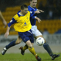 St Johnstone v Queen of the South....20.12.03<br />David Bagan and Paul Bernard<br /><br />Picture by Graeme Hart.<br />Copyright Perthshire Picture Agency<br />Tel: 01738 623350  Mobile: 07990 594431