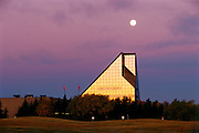 Full moon over the Royal Canadian Minta st sunrise<br /> Winnipeg<br /> Manitoba<br /> Canada