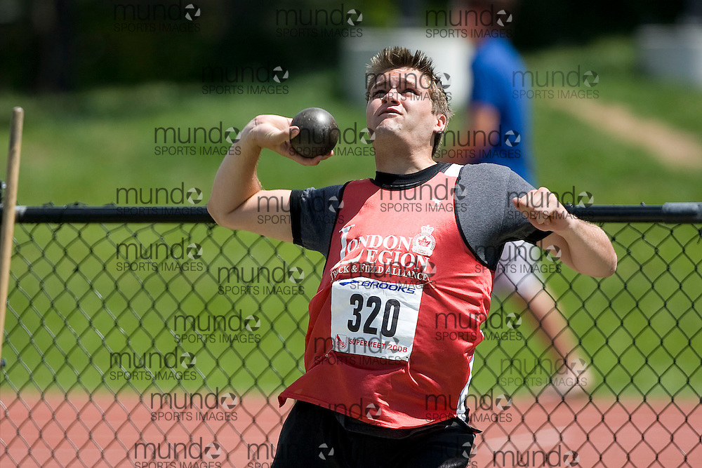 (Toronto, Ontario---2 August 2008)  Scott Rumble competing in the juvenile boys shot put at the 2008 OTFA Supermeet II, the Bantam, Midget, Youth Track and Field Championships. This image is copyright Sean W. Burges, and the photographer can be contacted at www.msievents.com.