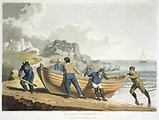 Seamen hauling a clinker-built dingy up on shore.  In this type of construction the planks of the vessel overlap the plank below and are fastened with clinched (protruding point hammered back on itself) copper nails.  Aquatint (London, 1821).