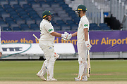 100 - Mark Cosgrove is congratulated by Will Davis on reaching 100 during the Specsavers County Champ Div 2 match between Durham County Cricket Club and Leicestershire County Cricket Club at the Emirates Durham ICG Ground, Chester-le-Street, United Kingdom on 21 August 2019.