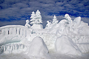 USA, Idaho, McCall, A Snow Sculpture for the McCall Winter Carnival (Kelly's White Water Park)