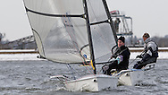 ENGLAND, London, Queen Mary Sailing Club, January 9th 2010, Bloody Mary Pursuit Race, D-One 11, Andy Rice (RYA) followed by D-One 1, Adrian Brunton, (Mengeham Rythe SC)