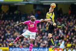 Nathan Ake of Watford heads the ball - Mandatory byline: Jason Brown/JMP - 27/02//2016 - FOOTBALL - Vicarage Road - Watford, England - Watford v Bournemouth - Barclays Premier League