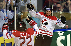 Duncan Keith (22) of Canada and Chris Kunitz (14) of Canada celebrating at  ice-hockey game Canada vs Russia at finals of IIHF WC 2008 in Quebec City,  on May 18, 2008, in Colisee Pepsi, Quebec City, Quebec, Canada. Win of Russia 5:4 and Russians are now World Champions 2008. (Photo by Vid Ponikvar / Sportal Images)