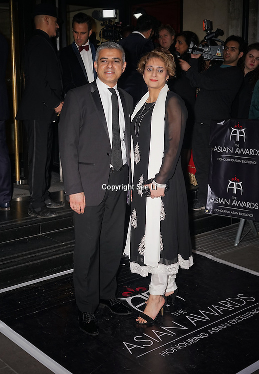 London,England,UK : 8th April 2016 : Joshua Kane, Saadiya Khan  attend the The Asian Awards 2016 at Grosvenor House Hotel, Park Lane, London. Photo by See Li