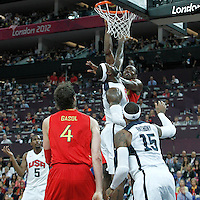 12 August 2012: Spain Serge Ibaka goes for the skyhook over LeBron James during 107-100 Team USA victory over Team Spain, during the men's Gold Medal Game, at the North Greenwich Arena, in London, Great Britain.