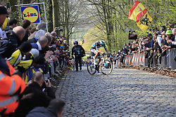 Rudiger Selig (GER) Bora-Hansgrohe weaves across the cobbles as he struggles up the 2nd ascent of the Kemmelberg during the 2019 Gent-Wevelgem in Flanders Fields running 252km from Deinze to Wevelgem, Belgium. 31st March 2019.<br /> Picture: Eoin Clarke | Cyclefile<br /> <br /> All photos usage must carry mandatory copyright credit (&copy; Cyclefile | Eoin Clarke)