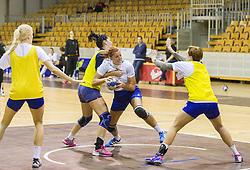 Sanja Gregorc during practice session of Slovenian Women handball National Team three days before match against Serbia, on October 24, 2013 in Arena Tivoli, Ljubljana, Slovenia. (Photo by Vid Ponikvar / Sportida)