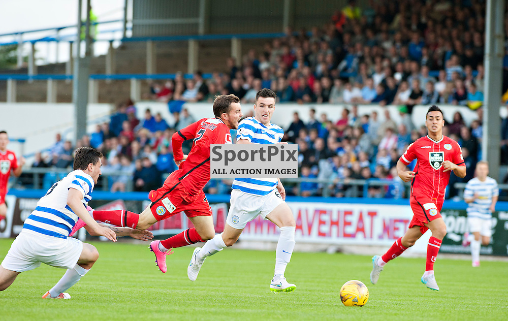 Saints's Paul McMullan goes down in a challenge against Morton<br /> <br /> (c) BILLY WHITE | SportPix.org.uk