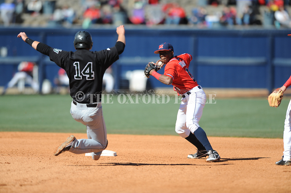 Ole Miss' Errol Robinson (6) forces out by Stetson's Patrick Mazeika (11) at Oxford-University Stadium in Oxford, Miss. on Saturday, March 7, 2015. Ole Miss won 8-3 in game 1 of a doubleheader to improve to 7-5.