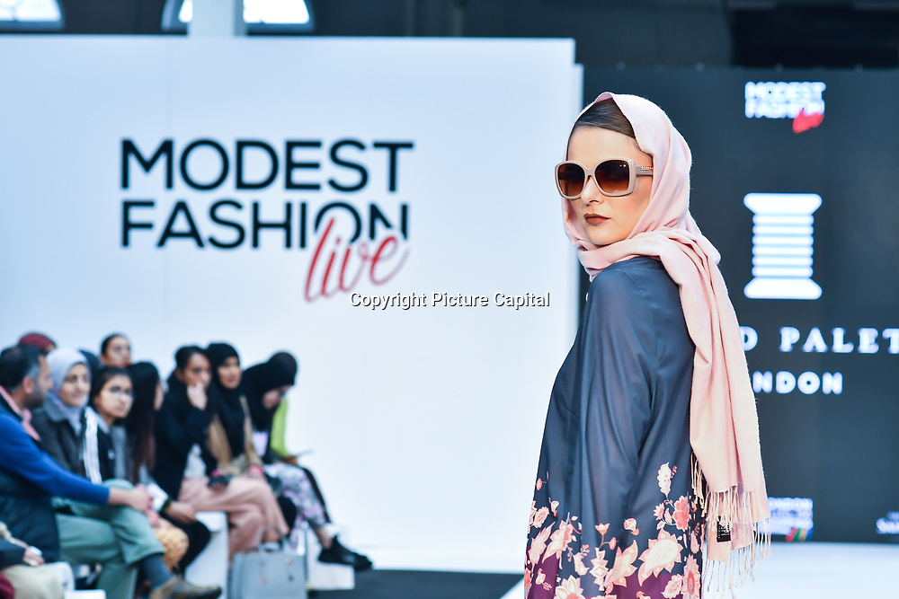Thread Palette London showcases its latest collection at Modest Fashion Live at Olympia London on 14 April 2019, London, UK.