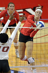 23 September 2017:  Jaelyn Keene & Patience Brown during a college women's volleyball match between the Salukis of Southern Illinois and the Illinois State Redbirds at Redbird Arena in Normal IL (Photo by Alan Look)