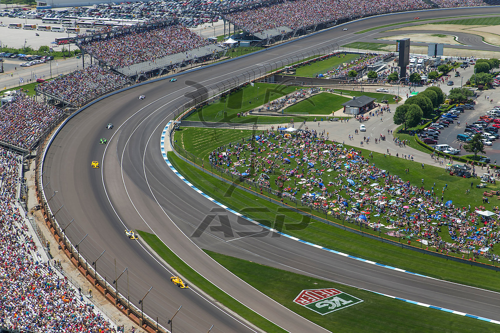 Indianapolis, IN - May 25, 2014:  Ryan Hunter-Ray brings the field through turn 2 during the Indianapolis Motor Speedway plays host to the Indianapolis 500 in Indianapolis, IN.  <br /> <br /> MANDATORY PHOTO CREDIT:  Walter G. Arce, Sr. KBI/ActionSportsInc.com