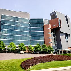 Photo of CARE-Crawley Building at the University of Cincinnati Academic Health Center. The CARE/Crawley building is part of the University of Cincinnati medical campus and includes research, library and lab facilities