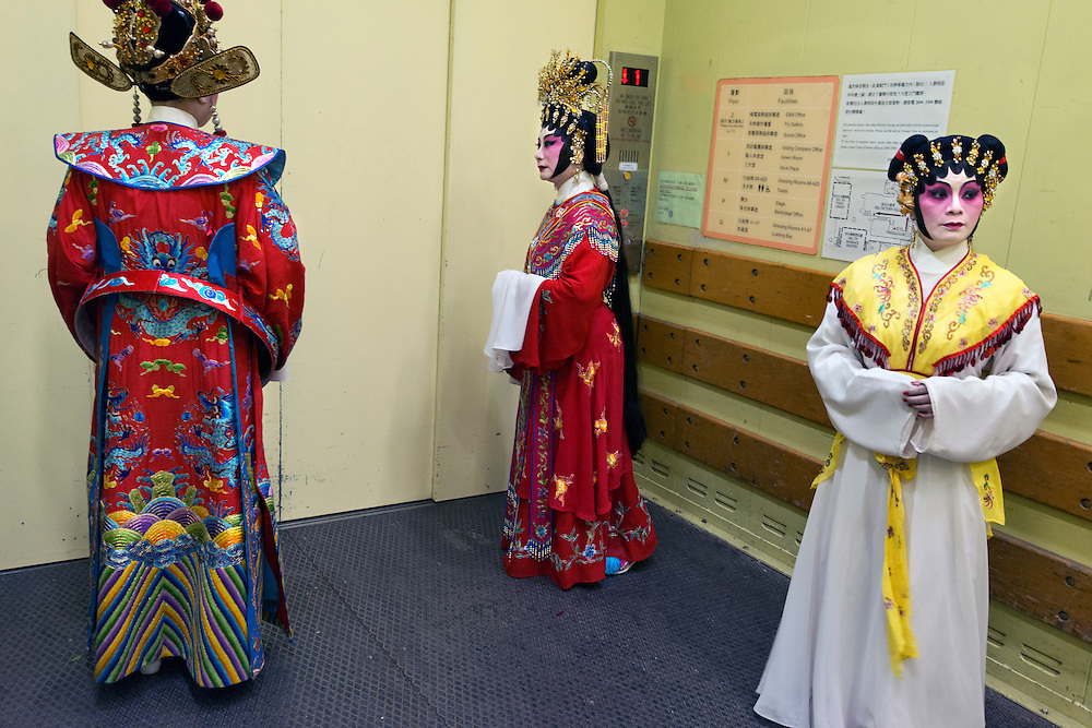 Tension before a performance as actors from an amateur company are about to enter the stage of Shatin city hall theatre.
