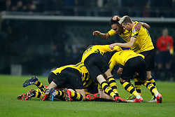 07.04.2015, Signal Iduna Park, Dortmund, GER, DFB Pokal, Borussia Dortmund vs TSG 1899 Hoffenheim, Viertelfinale, im Bild Dortmunder beim Torjubel nach dem Treffer zum 3:2 durch Kapitaen Sebastian Kehl (Borussia Dortmund #5 - verdeckt) mit Pierre-Emerick Aubameyang (Borussia Dortmund #17) und Kevin Kampl (Borussia Dortmund #23) // during German DFB Pokal quarter final match between Borussia Dortmund and TSG 1899 Hoffenheim at the Signal Iduna Park in Dortmund, Germany on 2015/04/07. EXPA Pictures © 2015, PhotoCredit: EXPA/ Eibner-Pressefoto/ Schueler<br /> <br /> *****ATTENTION - OUT of GER*****