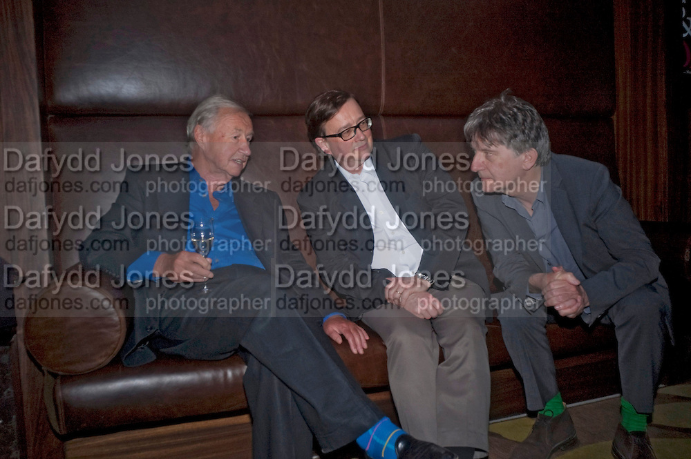 SIR TERENCE CONRAN; SEBASTIAN CONRAN; DEYAN SUDJIC; , Conde Nast Traveller Innovation and Design Awards. St. Pancras Renaissance Marriot Hotel. London. 10 May 2011. <br /> <br />  , -DO NOT ARCHIVE-&copy; Copyright Photograph by Dafydd Jones. 248 Clapham Rd. London SW9 0PZ. Tel 0207 820 0771. www.dafjones.com.
