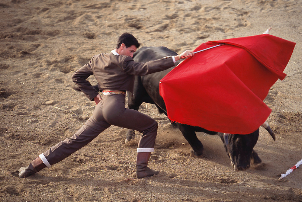 """Bullfight in a """"rent-a-ring"""" during the annual festival for the Spanish town of Olite's patron saint. Navarra, Spain."""