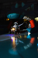 KELOWNA, CANADA - SEPTEMBER 22:  Rocky Raccoon, the mascot of the Kelowna Rockets enters the ice against the Kamloops Blazers on September 22, 2018 at Prospera Place in Kelowna, British Columbia, Canada.  (Photo by Marissa Baecker/Shoot the Breeze)  *** Local Caption ***