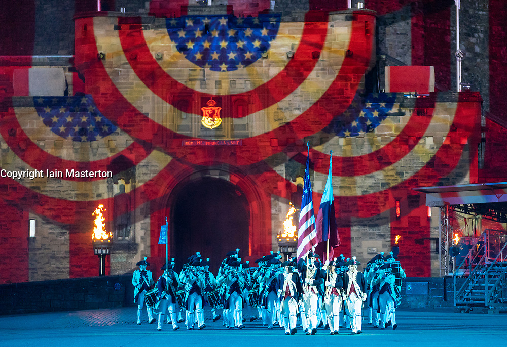 The 2018 Royal Edinburgh International Military Tattoo on esplanade of Edinburgh Castle, Scotland, UK