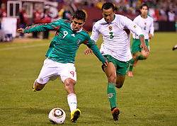 February 24, 2010; San Francisco, CA, USA;  Mexico forward Alberto Medina (9) is defended by Bolivia defender Edemir Rodriguez (3) during the second half at Candlestick Park. Mexico defeated Bolivia 5-0.