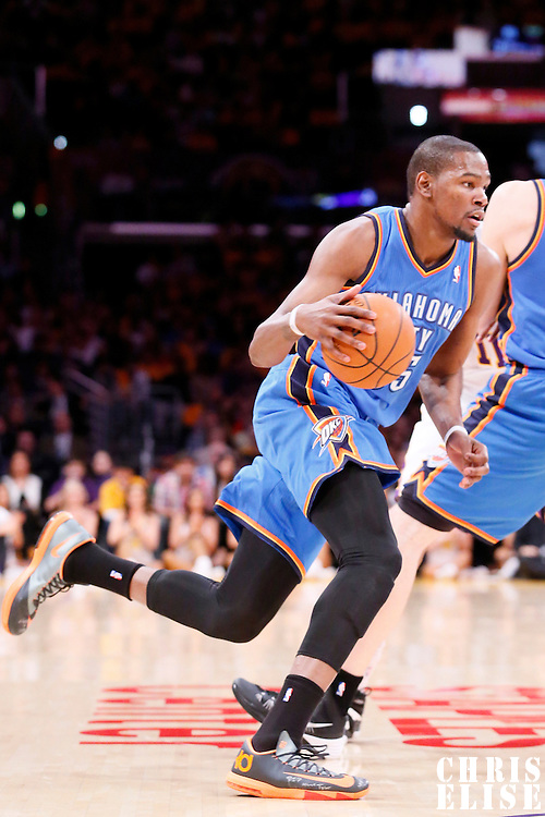 09 March 2014: Oklahoma City Thunder small forward Kevin Durant (35) dribbles during the Los Angeles Lakers 114-110 victory over the Oklahoma City Thunder at the Staples Center, Los Angeles, California, USA.