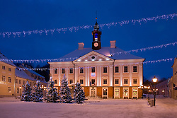 Old Tartu Town Hall with Christmas Trees in winter, Estonia