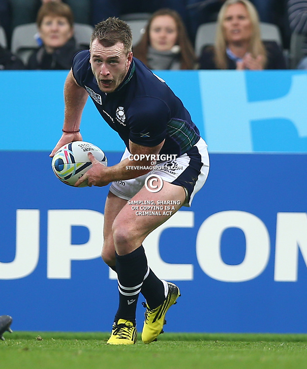 NEWCASTLE UPON TYNE, ENGLAND - OCTOBER 03: Stuart Hogg of Scotland during the Rugby World Cup 2015 Pool B match between South Africa and Scotland at St James Park on October 03, 2015 in Newcastle upon Tyne, England. (Photo by Steve Haag/Gallo Images)