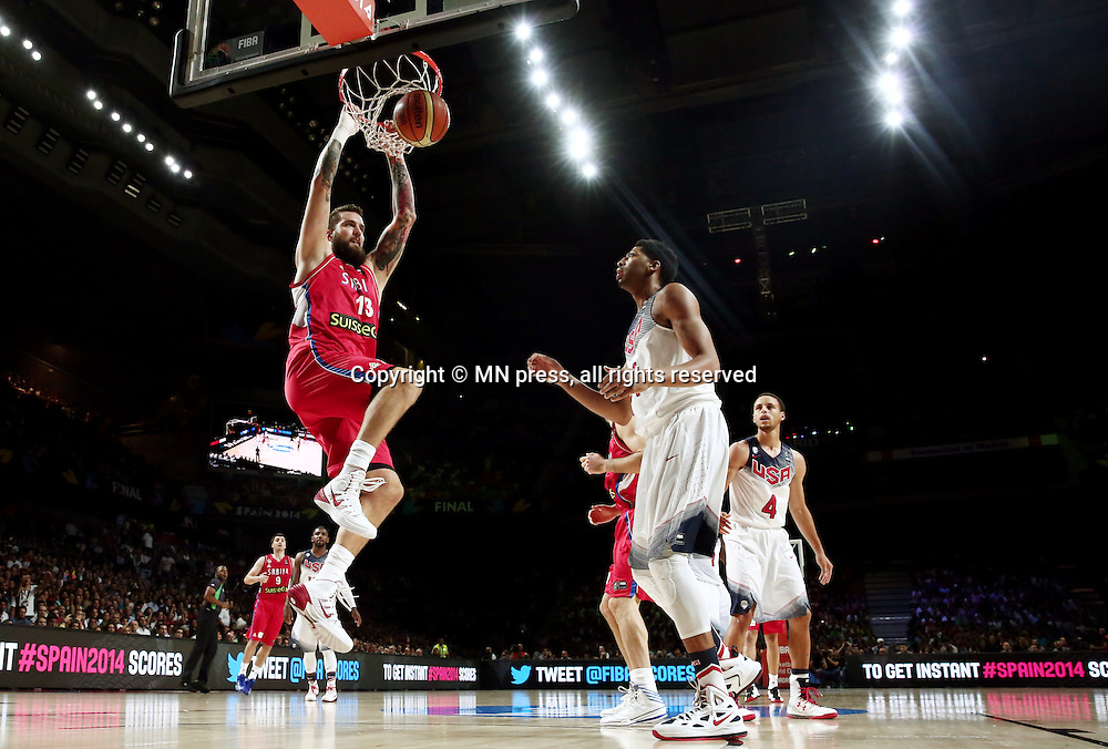 MIROSLAV RADULJICA of Serbia basketball team in action during Final FIBA World cup match against United states of America , Madrid, Spain Photo: MN PRESS PHOTO<br /> Basketball, Serbia, United states of America, Final, FIBA World cup Spain 2014